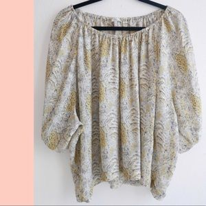 Joie silk yellow white printed top